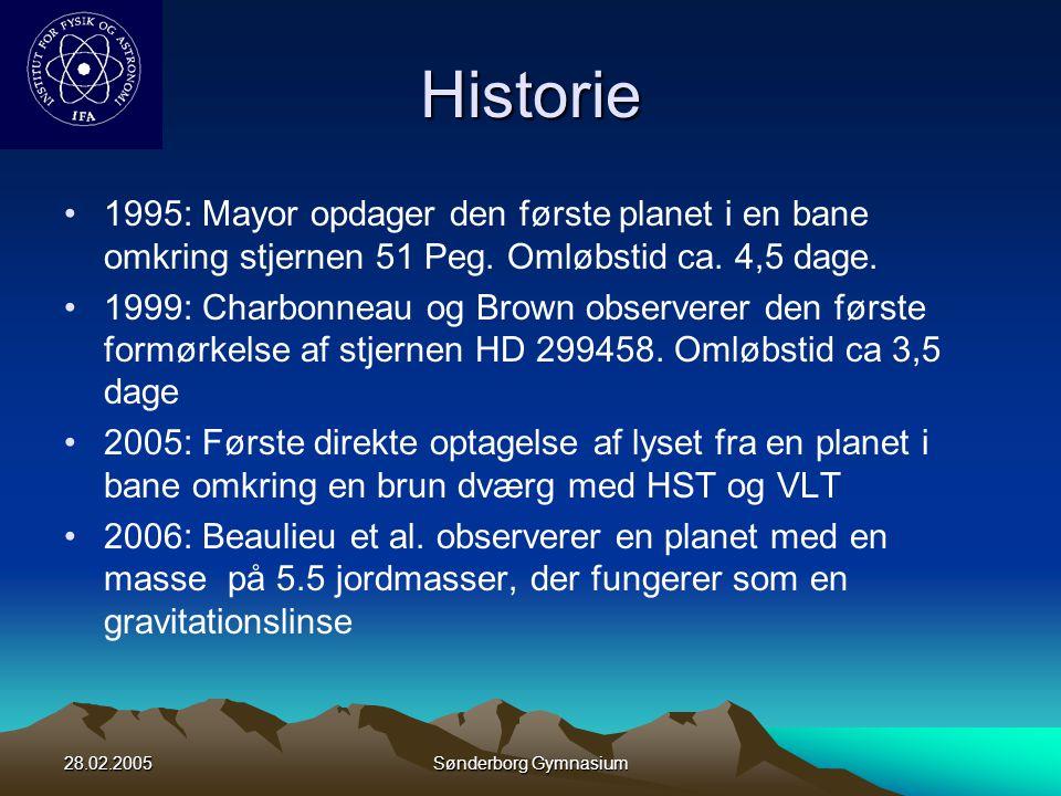 Historie 1995: Mayor opdager den første planet i en bane omkring stjernen 51 Peg. Omløbstid ca. 4,5 dage.
