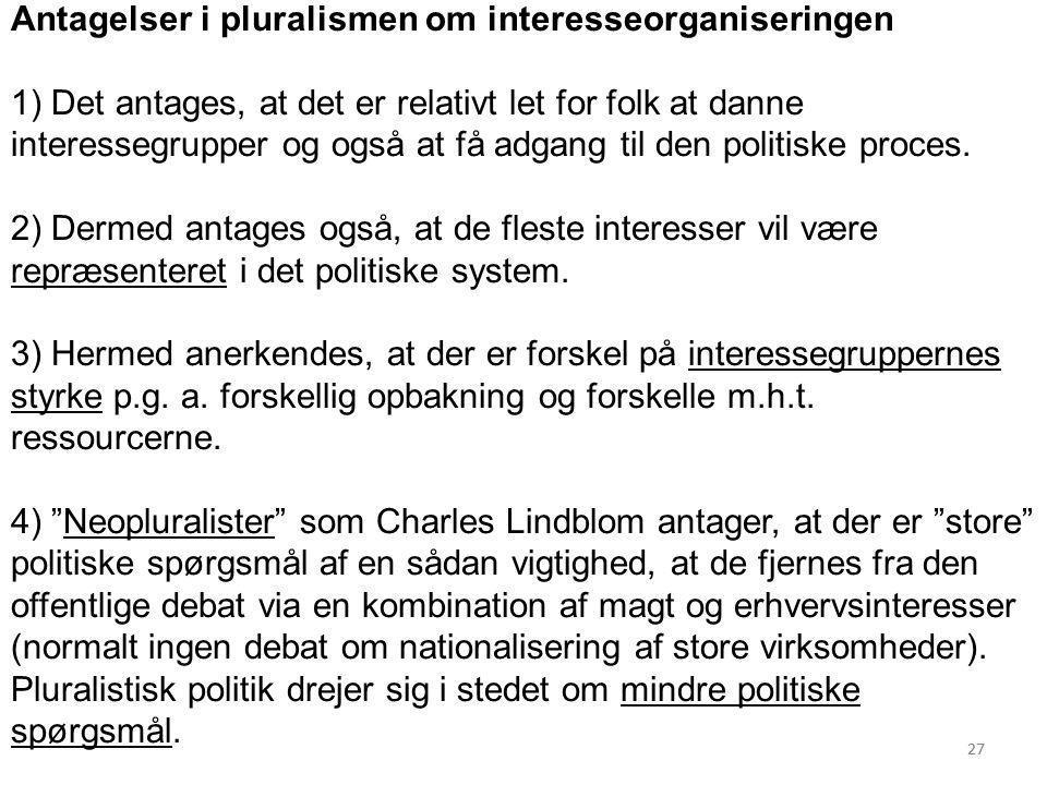 Antagelser i pluralismen om interesseorganiseringen