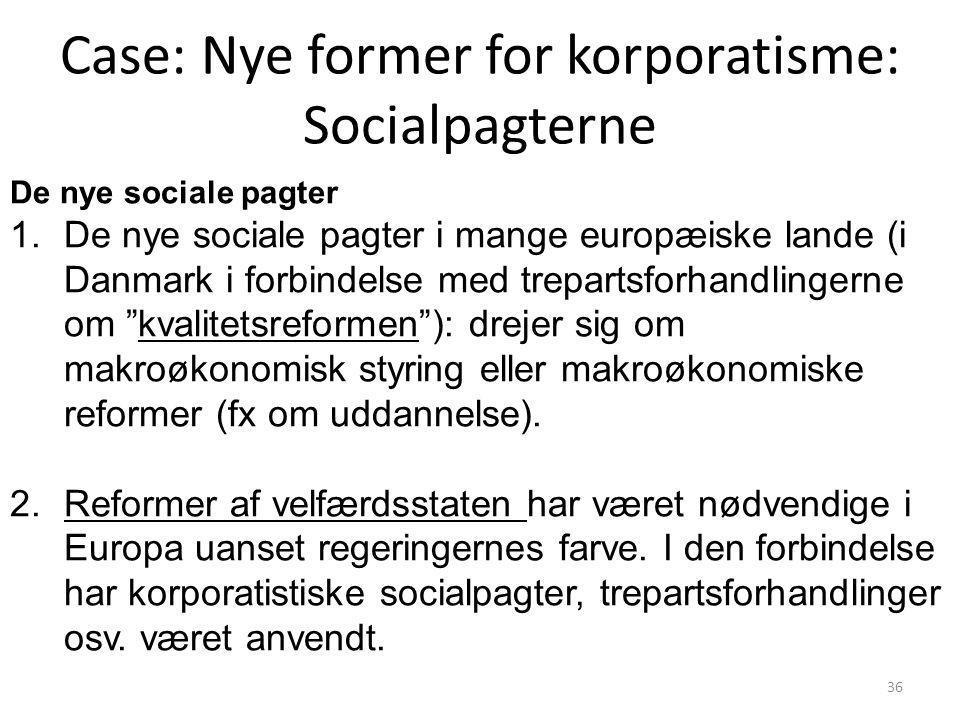 Case: Nye former for korporatisme: Socialpagterne