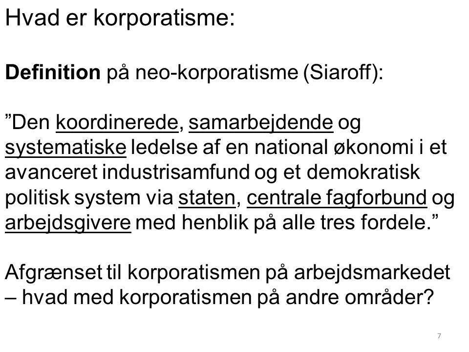 Hvad er korporatisme: Definition på neo-korporatisme (Siaroff):