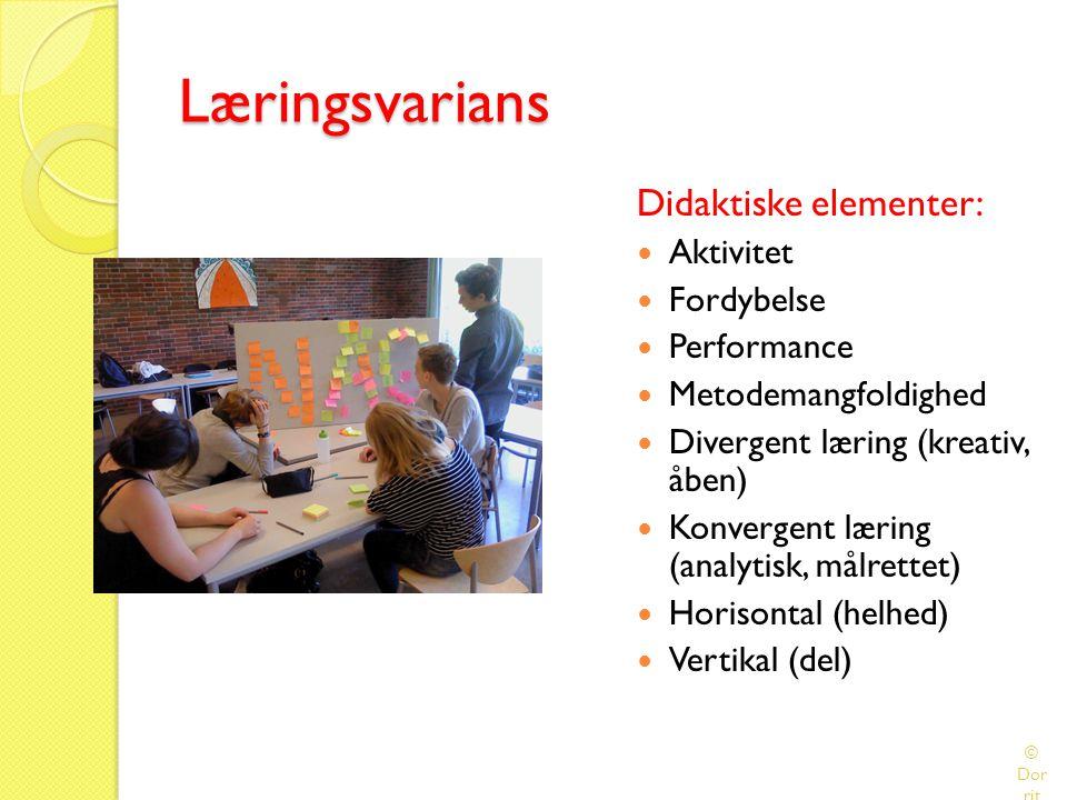 Læringsvarians Didaktiske elementer: Aktivitet Fordybelse Performance
