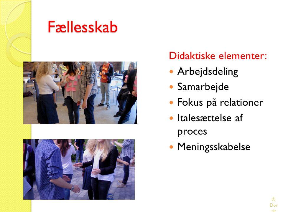Fællesskab Didaktiske elementer: Arbejdsdeling Samarbejde