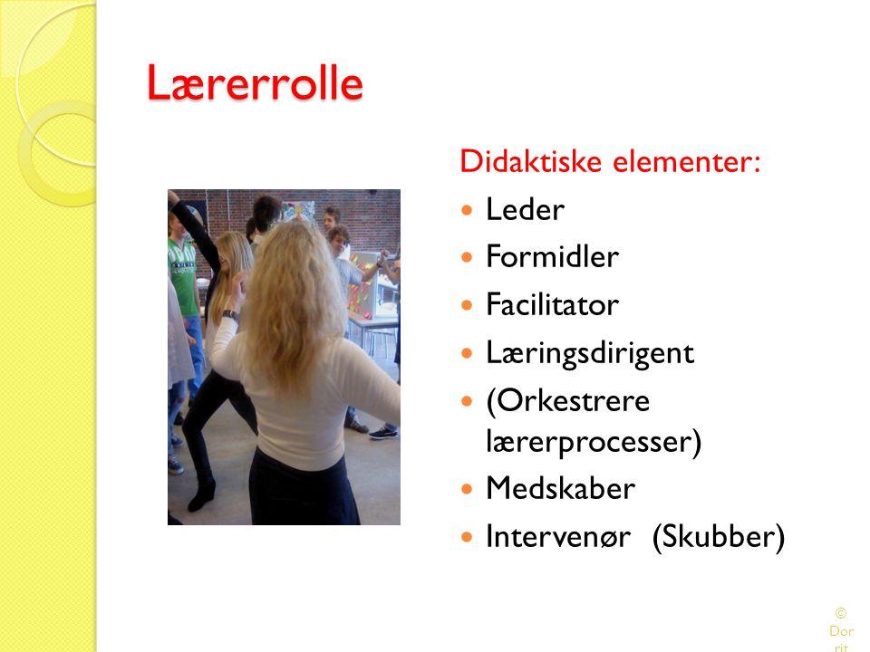 Lærerrolle Didaktiske elementer: Leder Formidler Facilitator