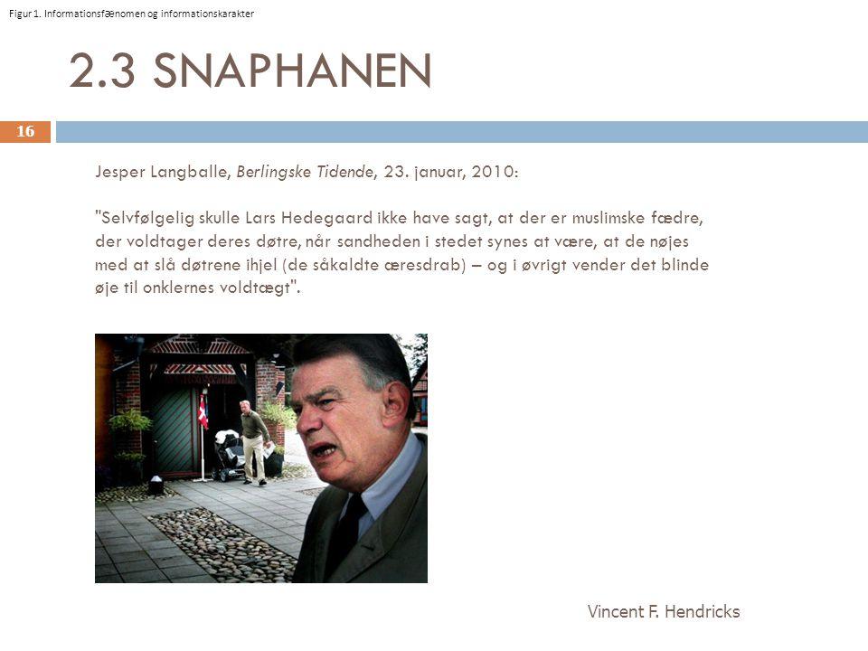 2.3 SNAPHANEN Jesper Langballe, Berlingske Tidende, 23. januar, 2010: