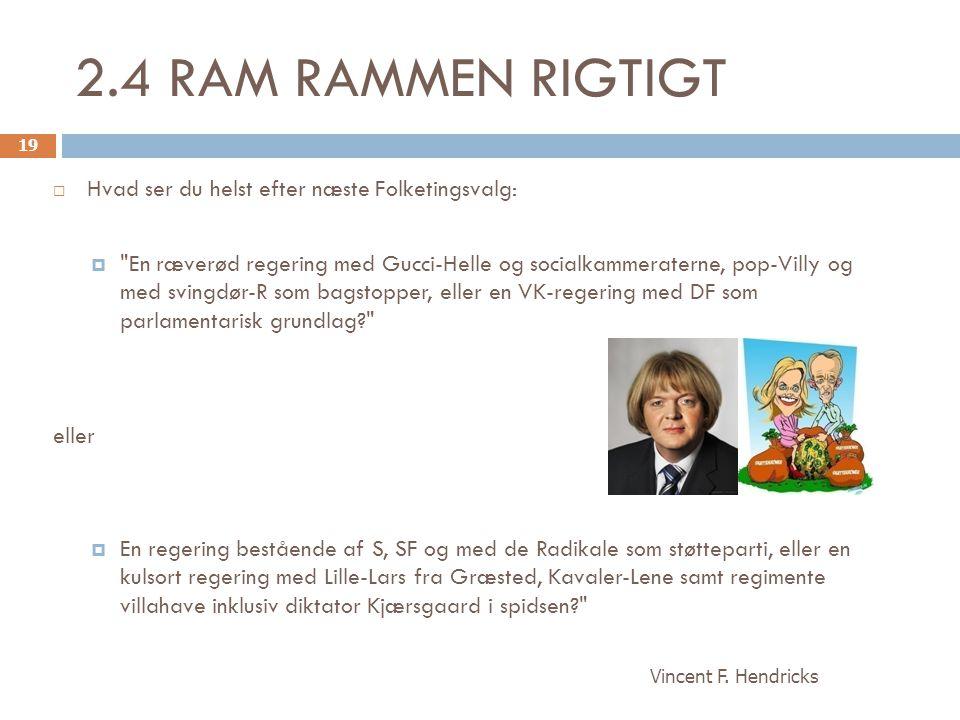 2.4 RAM RAMMEN RIGTIGT Hvad ser du helst efter næste Folketingsvalg: