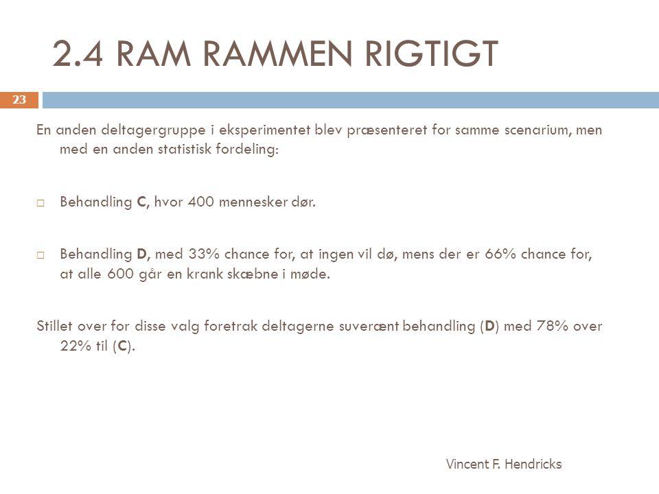 2.4 RAM RAMMEN RIGTIGT En anden deltagergruppe i eksperimentet blev præsenteret for samme scenarium, men med en anden statistisk fordeling: