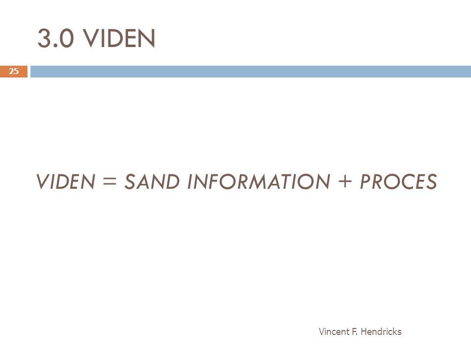 3.0 VIDEN VIDEN = SAND INFORMATION + PROCES Vincent F. Hendricks