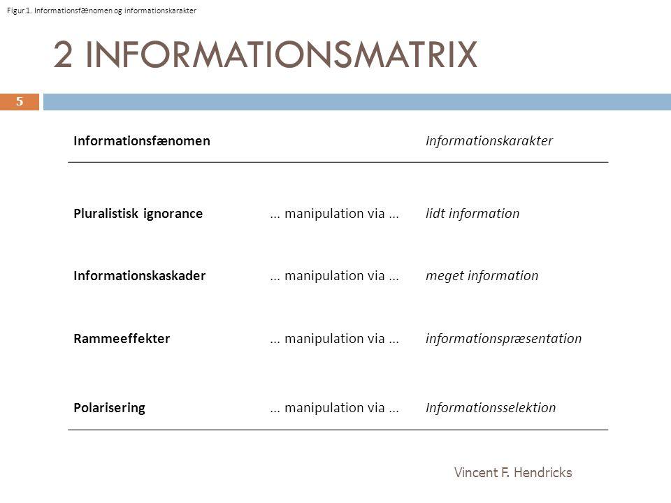2 INFORMATIONSMATRIX Informationsfænomen Informationskarakter
