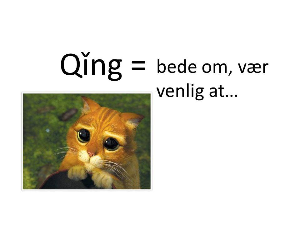 Qǐng = bede om, vær venlig at…