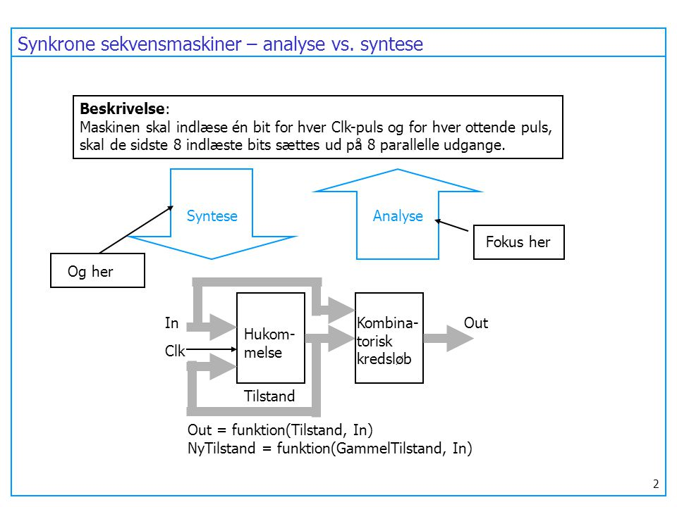 Synkrone sekvensmaskiner – analyse vs. syntese