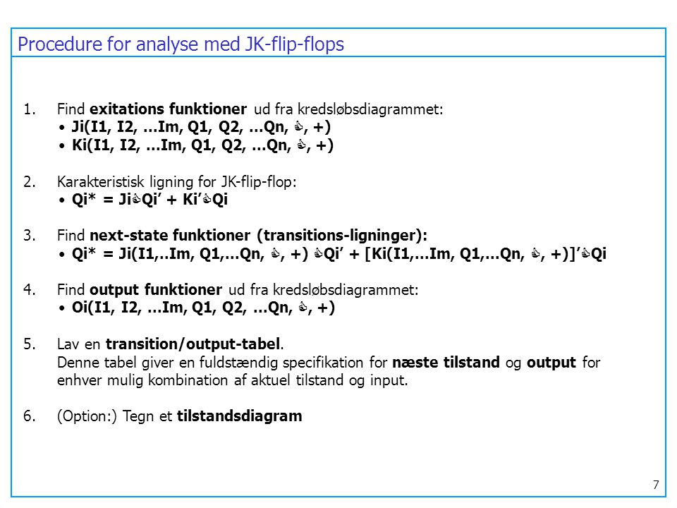 Procedure for analyse med JK-flip-flops