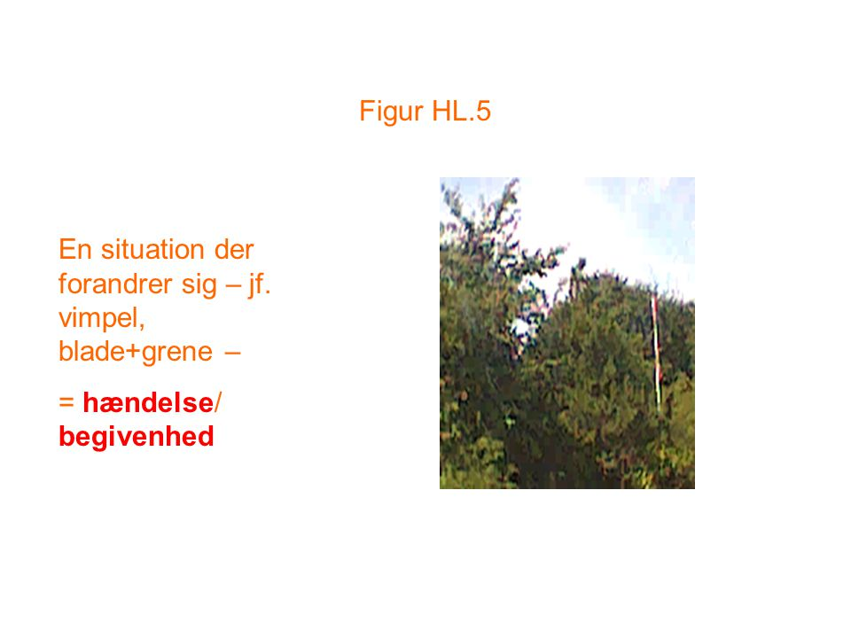 Figur HL.5 En situation der forandrer sig – jf. vimpel, blade+grene – = hændelse/ begivenhed