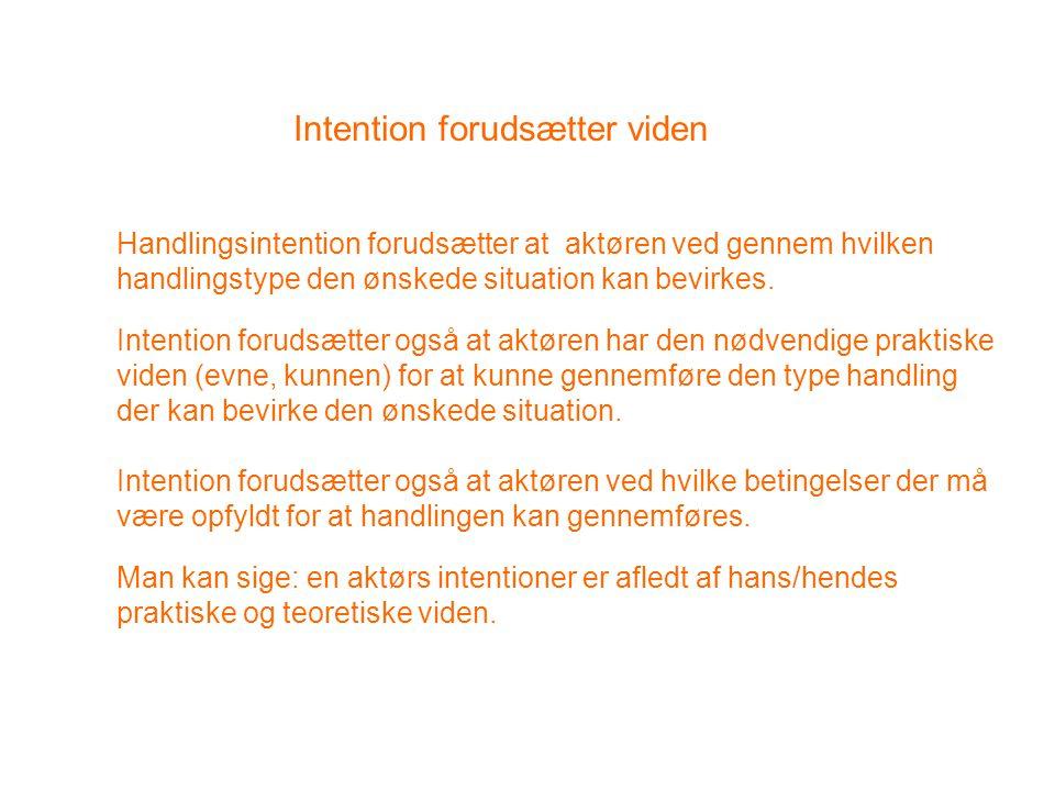 Intention forudsætter viden