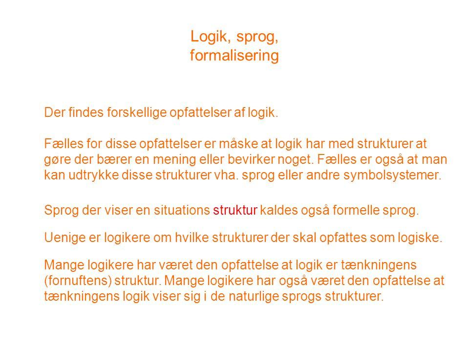 Logik, sprog, formalisering