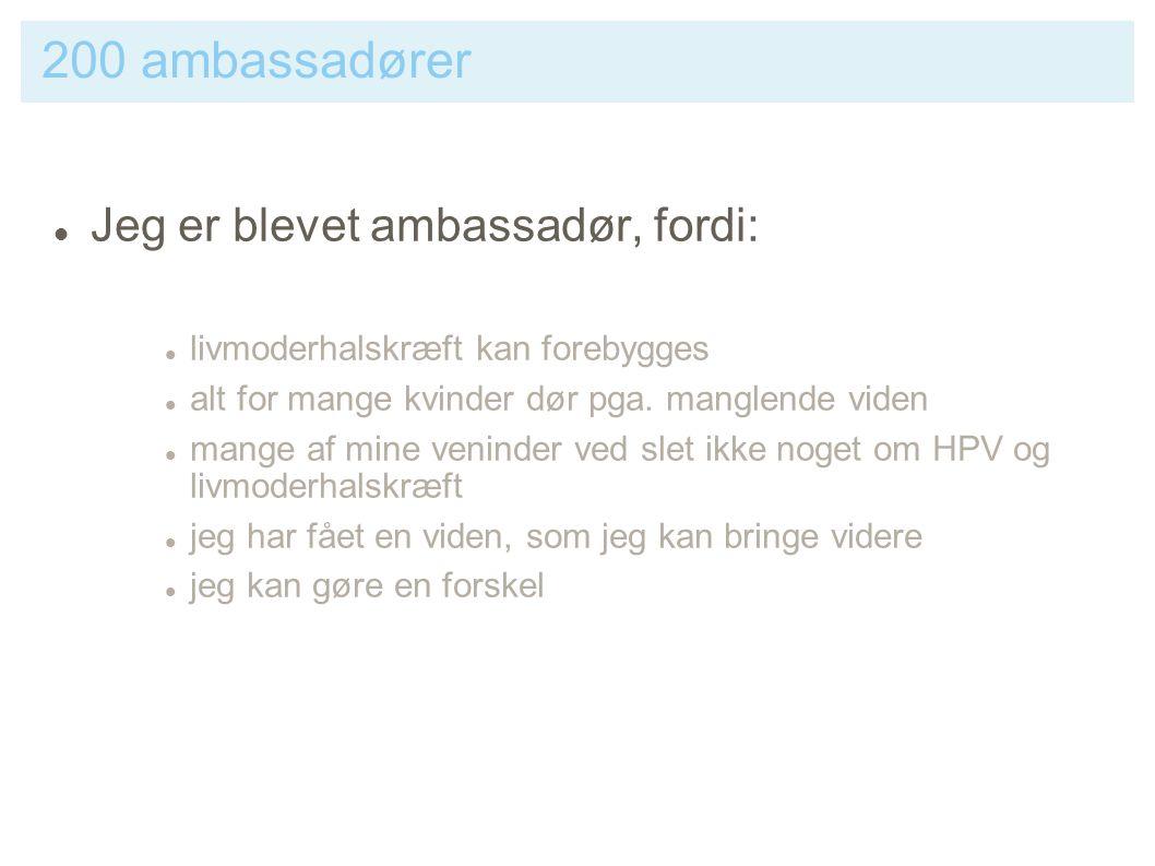 200 ambassadører Jeg er blevet ambassadør, fordi: