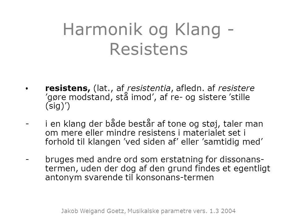 Harmonik og Klang - Resistens
