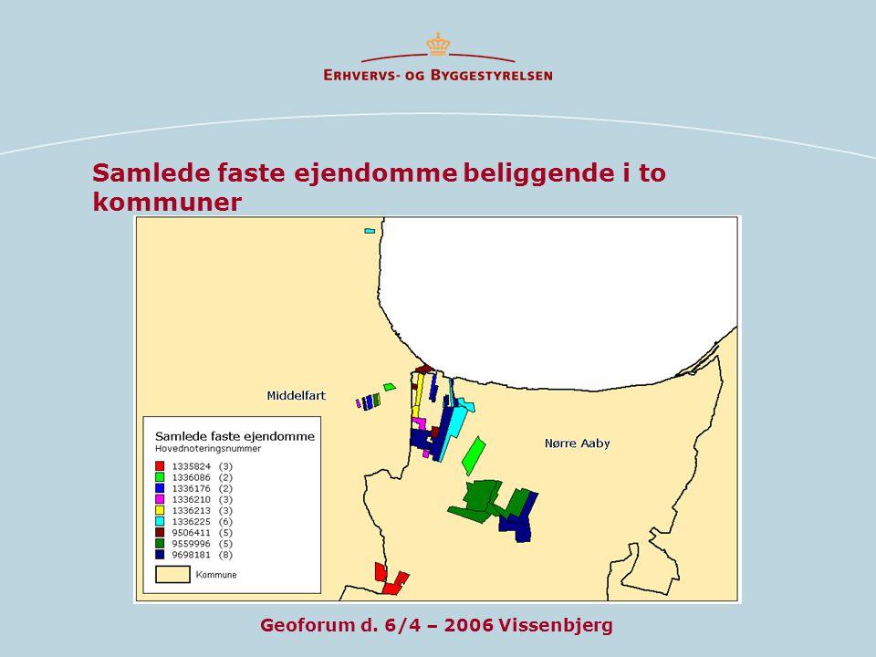 Samlede faste ejendomme beliggende i to kommuner