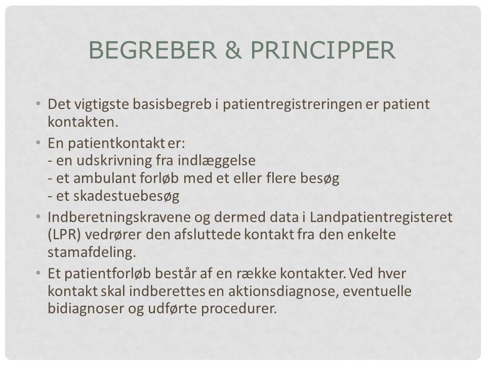 BEGREBER & PRINCIPPER Det vigtigste basisbegreb i patientregistreringen er patient kontakten.