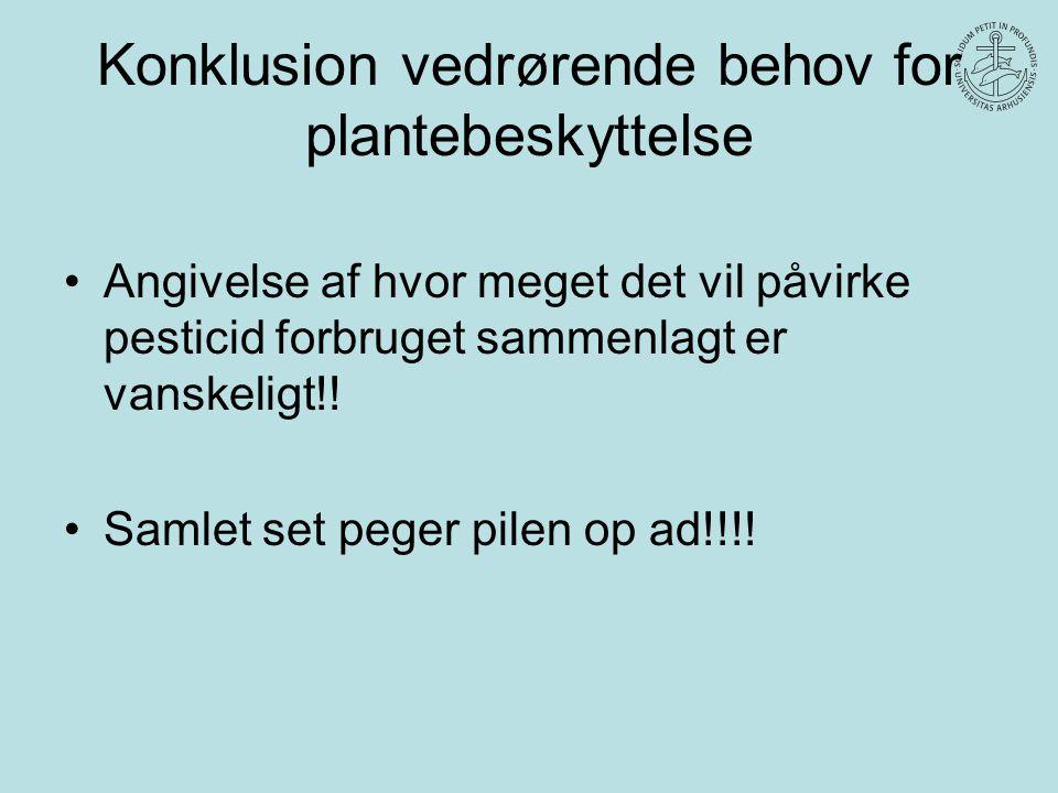 Konklusion vedrørende behov for plantebeskyttelse