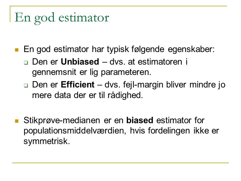 En god estimator En god estimator har typisk følgende egenskaber: