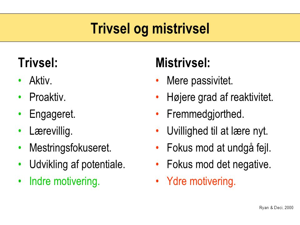 Trivsel og mistrivsel Trivsel: Mistrivsel: Aktiv. Proaktiv. Engageret.