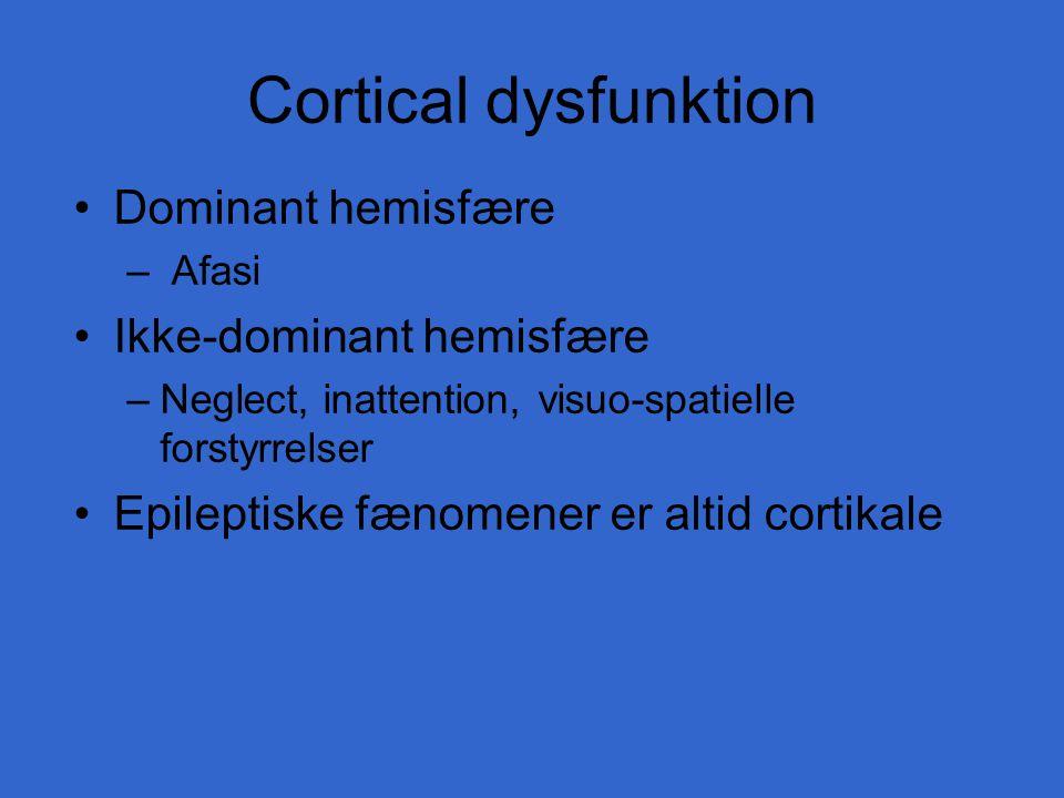 Cortical dysfunktion Dominant hemisfære Ikke-dominant hemisfære