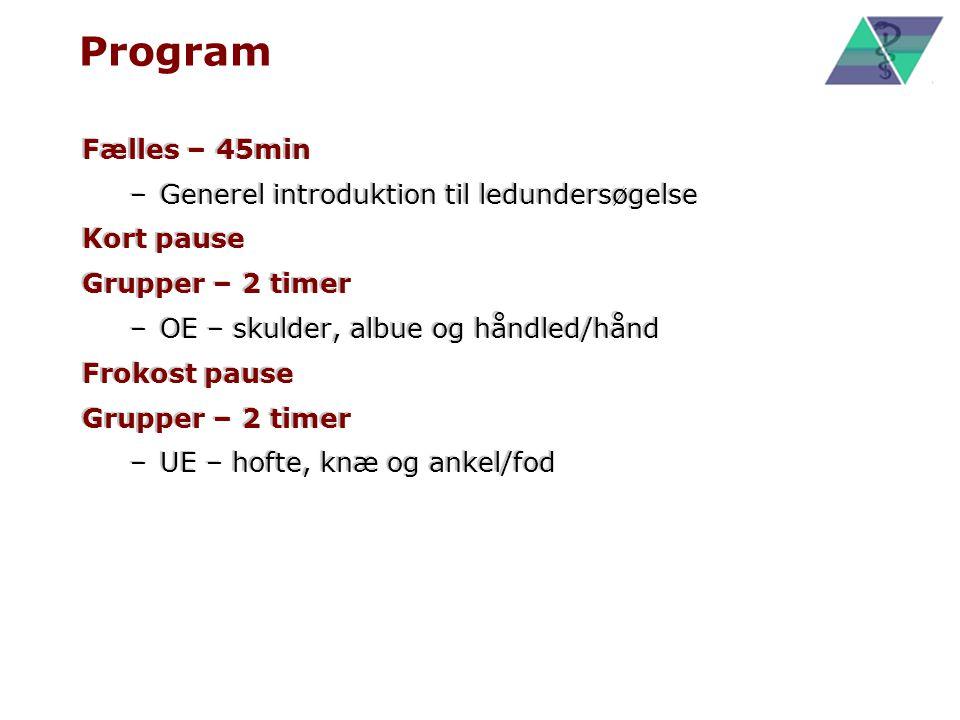 Program Fælles – 45min Generel introduktion til ledundersøgelse