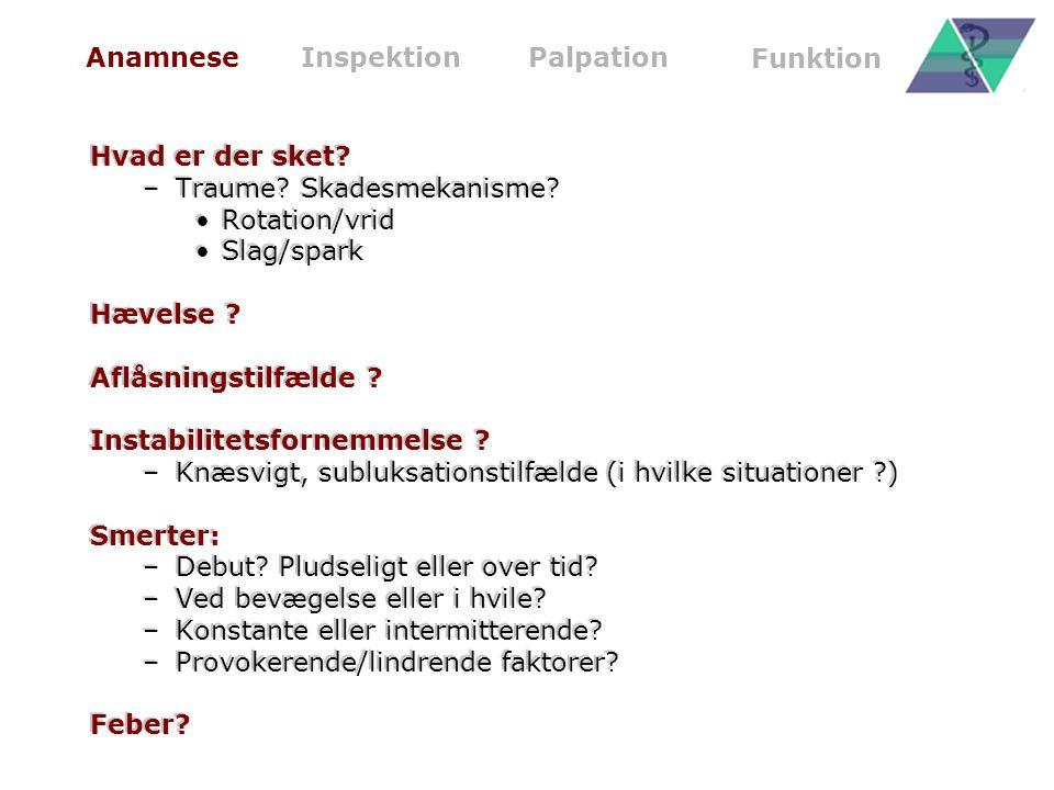 Traume Skadesmekanisme Rotation/vrid Slag/spark Hævelse