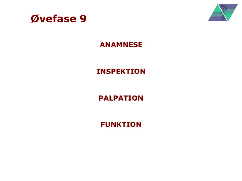 Øvefase 9 ANAMNESE INSPEKTION PALPATION FUNKTION
