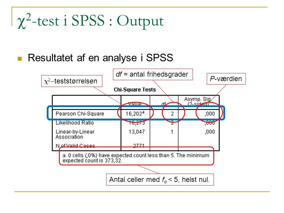 c2-test i SPSS : Output Resultatet af en analyse i SPSS