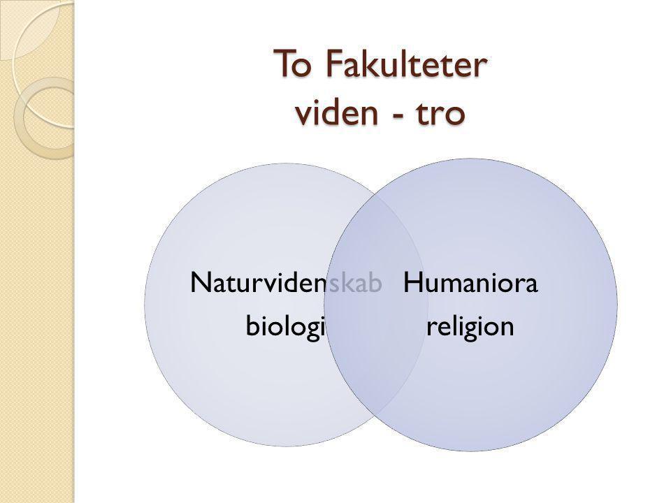 To Fakulteter viden - tro