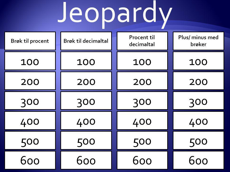 Procent til decimaltal