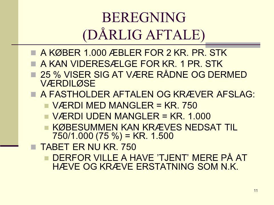 BEREGNING (DÅRLIG AFTALE)