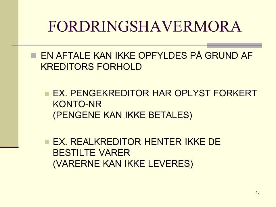 FORDRINGSHAVERMORA EN AFTALE KAN IKKE OPFYLDES PÅ GRUND AF KREDITORS FORHOLD.