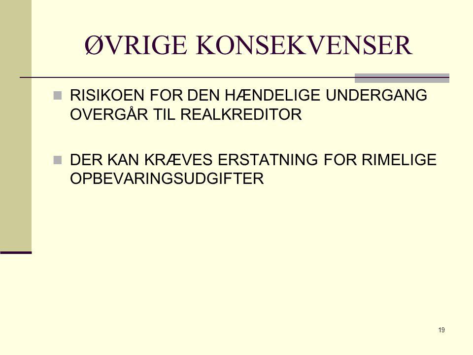 ØVRIGE KONSEKVENSER RISIKOEN FOR DEN HÆNDELIGE UNDERGANG OVERGÅR TIL REALKREDITOR.