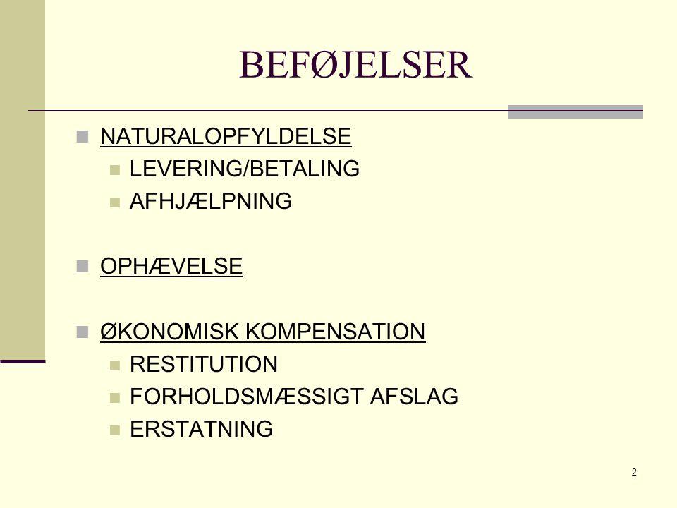 BEFØJELSER NATURALOPFYLDELSE LEVERING/BETALING AFHJÆLPNING OPHÆVELSE