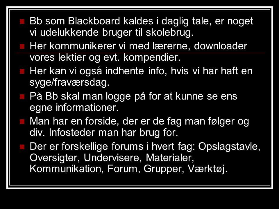 Bb som Blackboard kaldes i daglig tale, er noget vi udelukkende bruger til skolebrug.