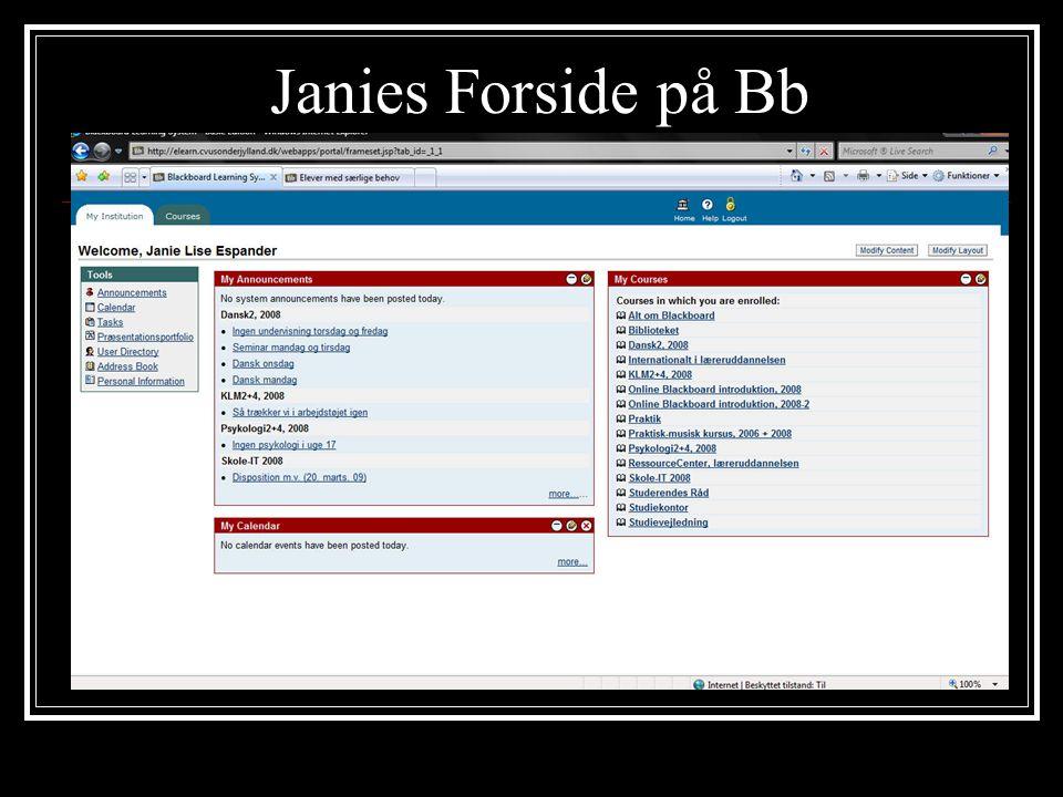 Janies Forside på Bb
