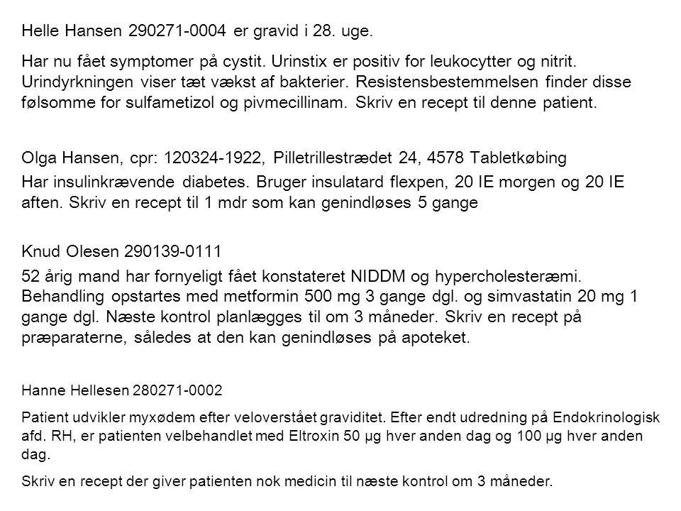 Helle Hansen 290271-0004 er gravid i 28. uge.