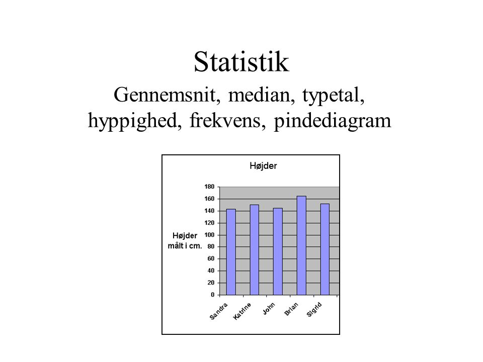 Gennemsnit, median, typetal, hyppighed, frekvens, pindediagram
