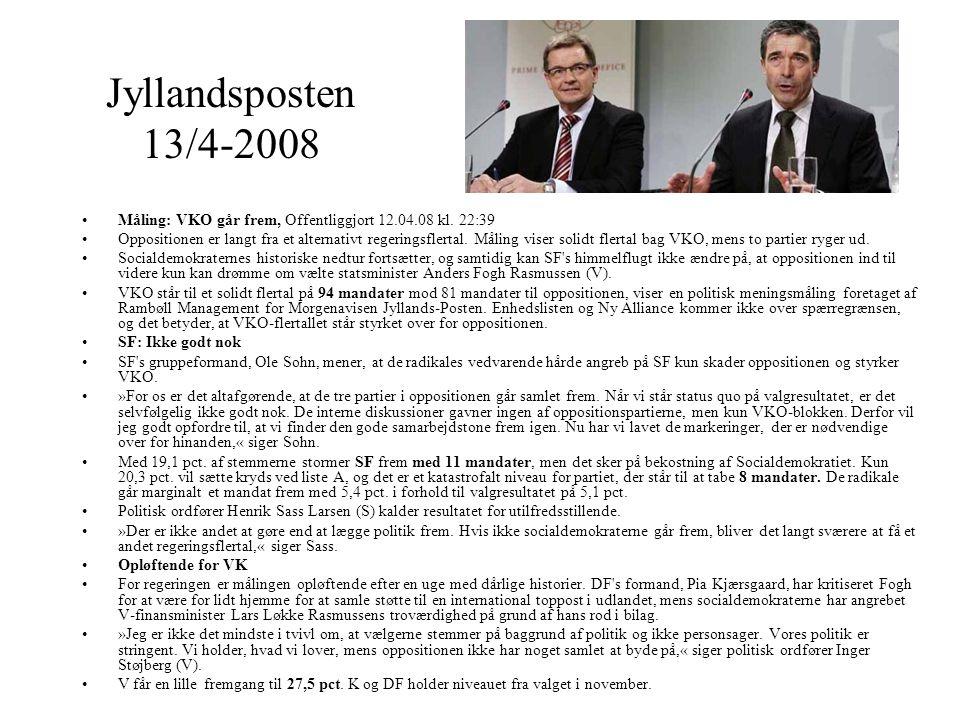 Jyllandsposten 13/4-2008 Måling: VKO går frem, Offentliggjort 12.04.08 kl. 22:39.