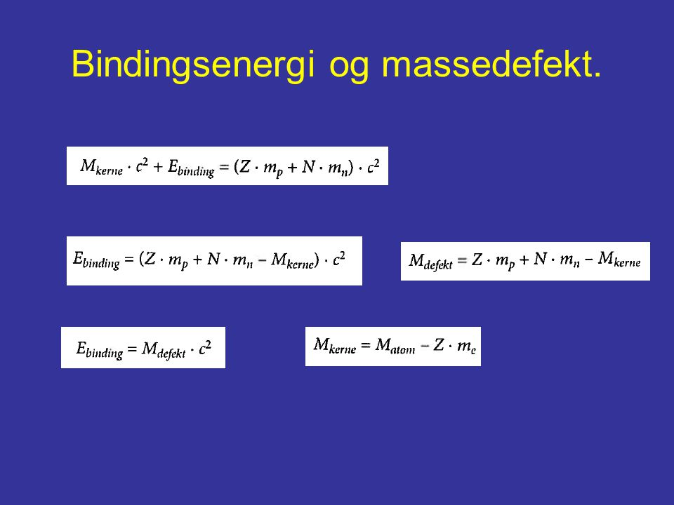 Bindingsenergi og massedefekt.