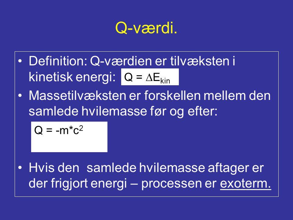 Q-værdi. Definition: Q-værdien er tilvæksten i kinetisk energi: