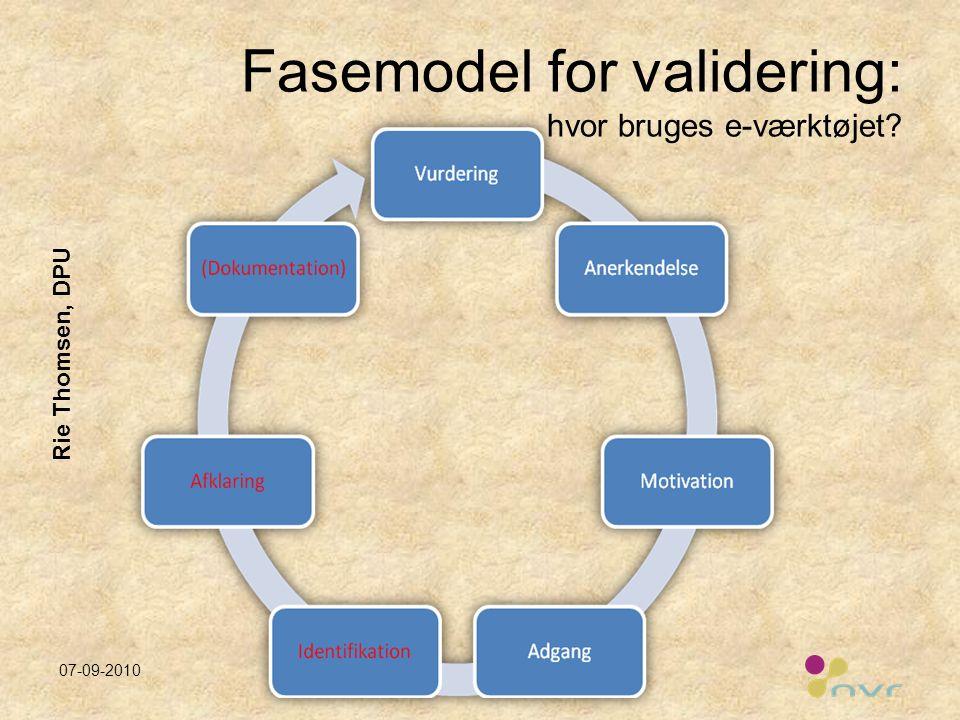 Fasemodel for validering: hvor bruges e-værktøjet