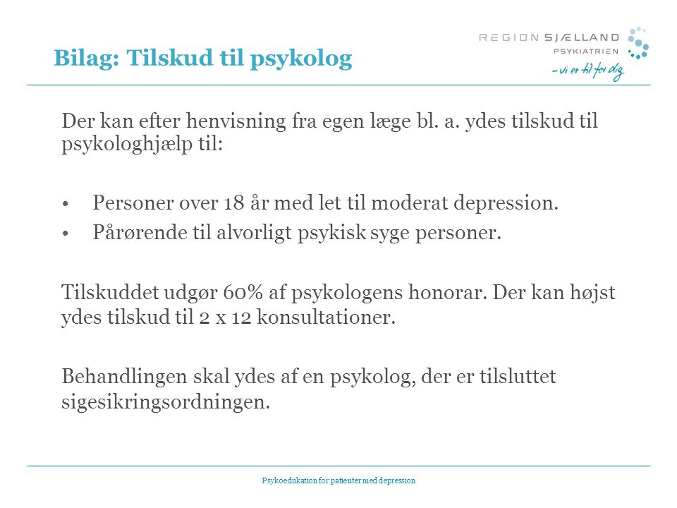 Bilag: Tilskud til psykolog