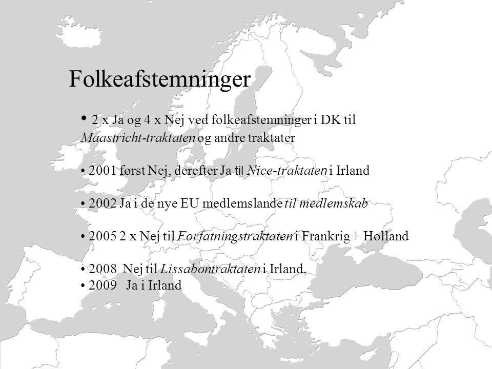 Folkeafstemninger 2 x Ja og 4 x Nej ved folkeafstemninger i DK til Maastricht-traktaten og andre traktater.