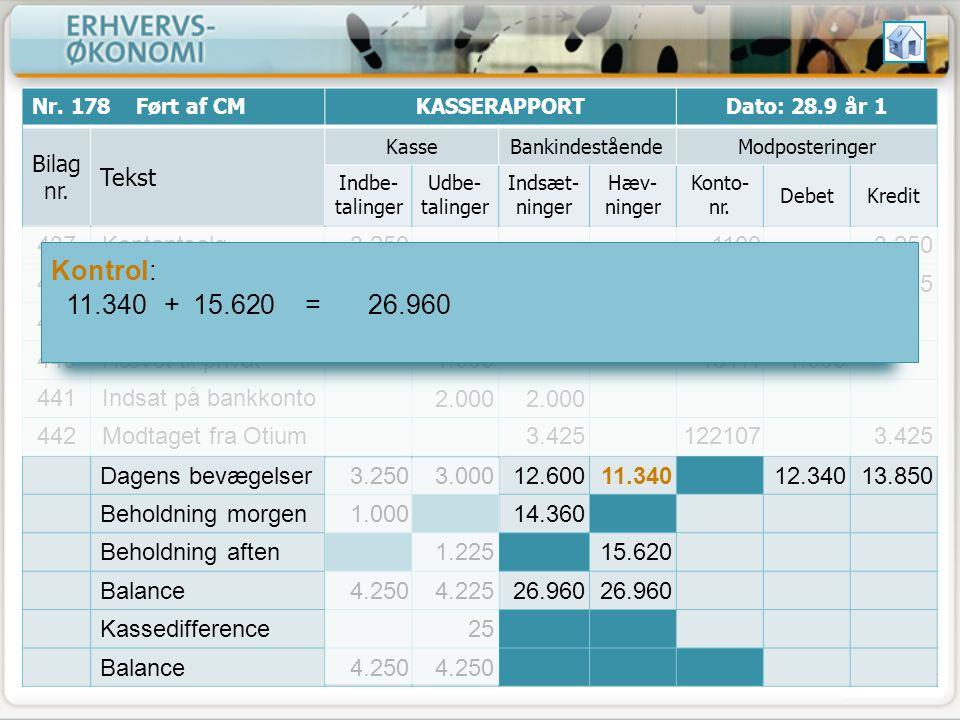 Kontrol: 11.340 + 15.620 = 26.960 Tekst Dagens bevægelser