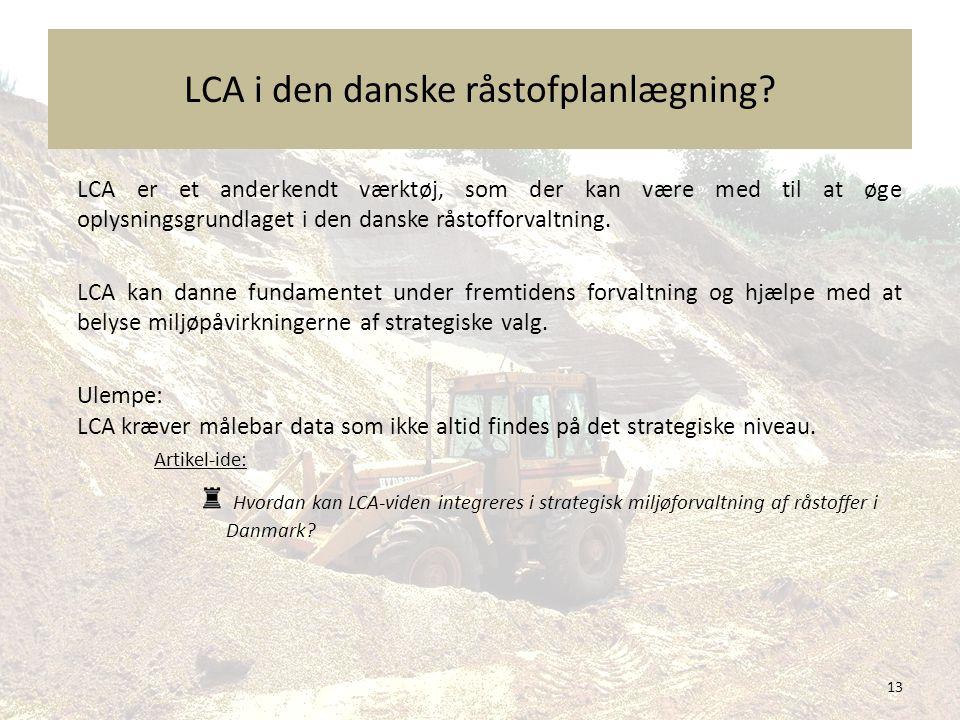 LCA i den danske råstofplanlægning