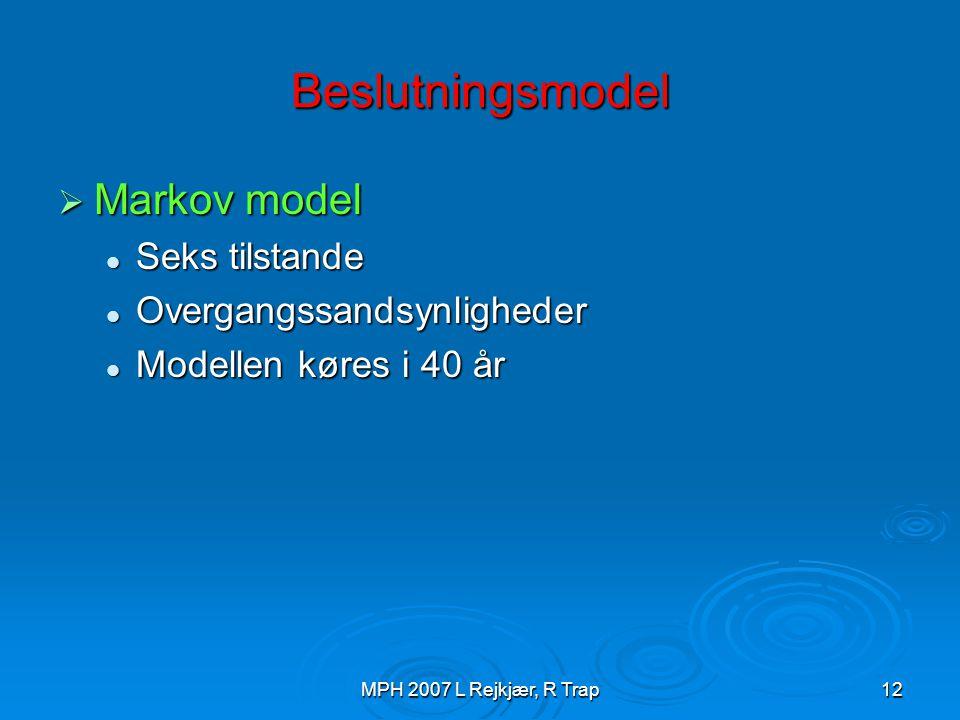 Beslutningsmodel Markov model Seks tilstande Overgangssandsynligheder