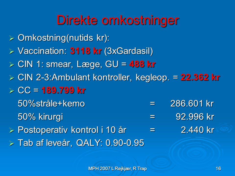 Direkte omkostninger Omkostning(nutids kr):